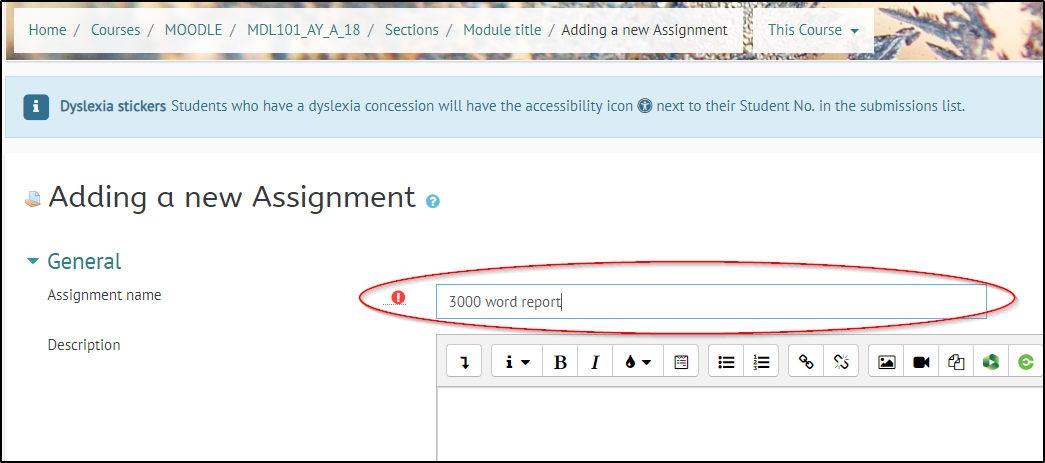 Staff- Set up an Online Assignment in Moodle | Support and