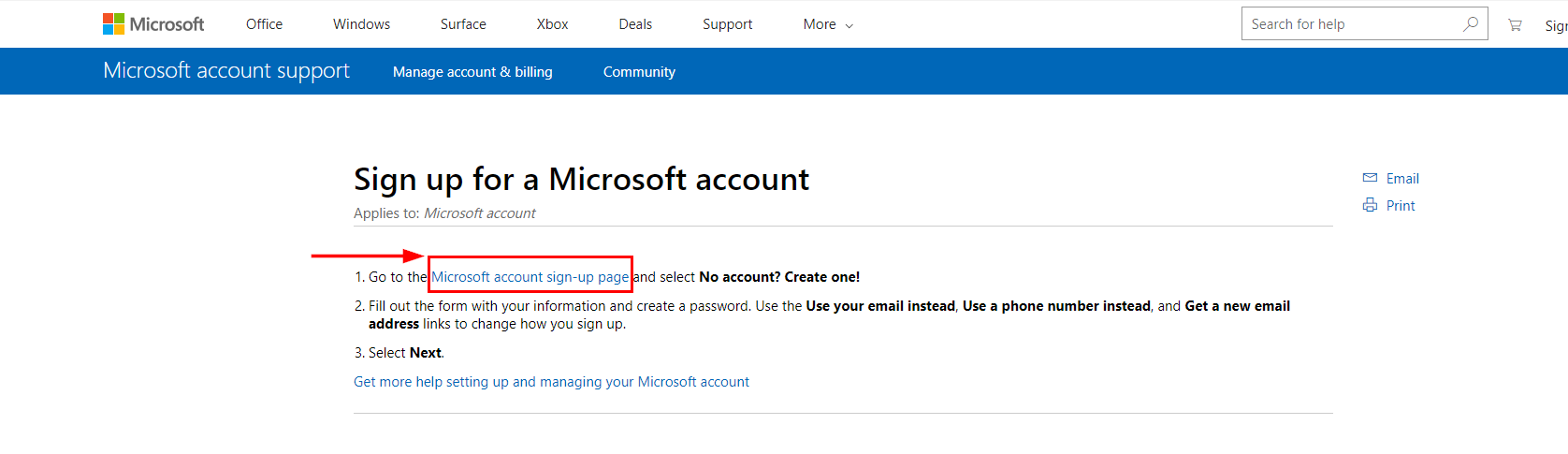 How to create a Microsoft account with a pre-existing email address