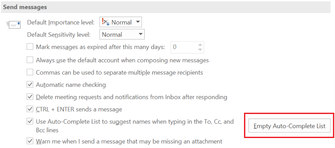 Turn off the Auto-Complete in Outlook | Support and