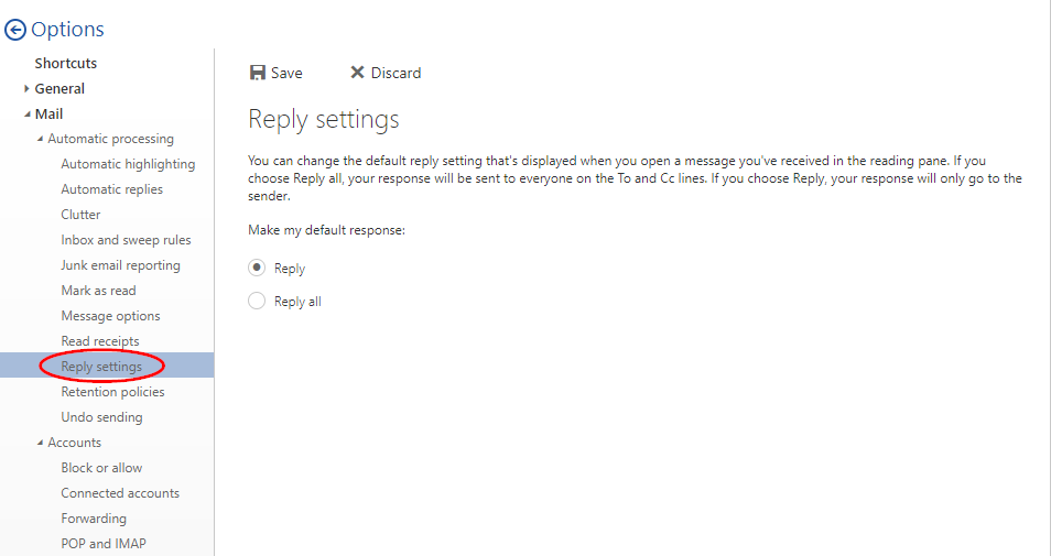 Changing the default reply setting in Office 365 | Support