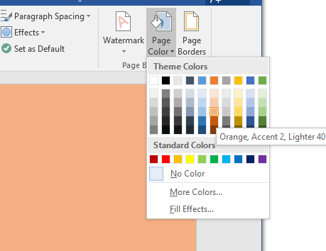 Change the background colour in Word Support and Information Zone