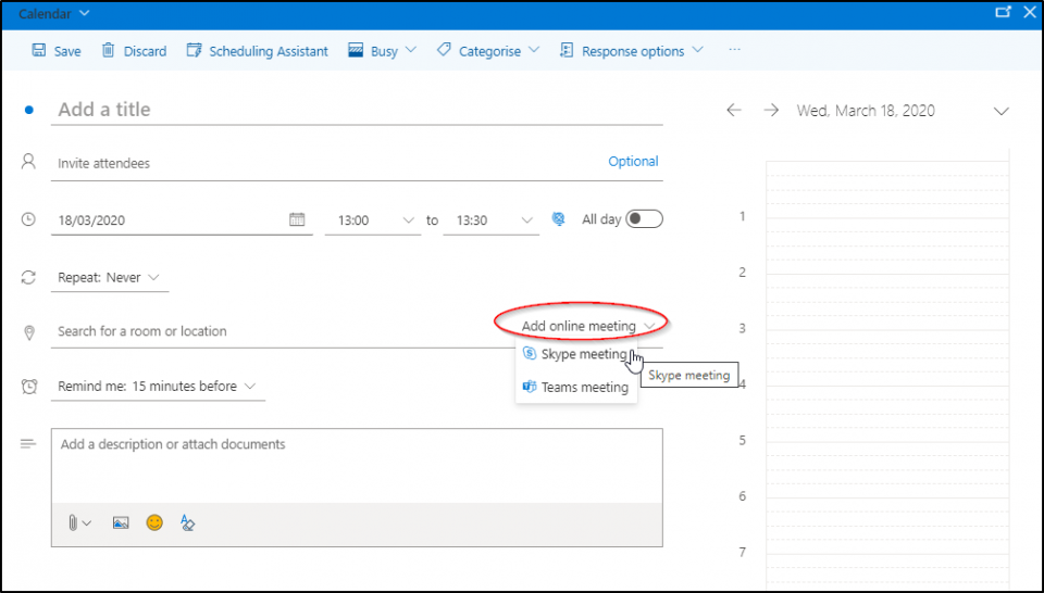 Add skype meeting