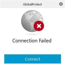 VPN connection failed with connect button